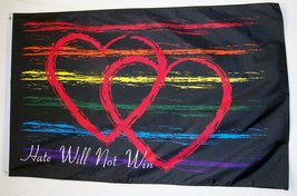 Hate will Not Win Flag 3' X 5' Rainbow Gay Pride Banner - $9.95