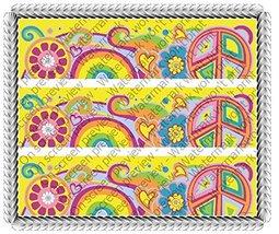 Groovy 70s Birthday Celebration Cake Borders Designer Prints Edible Image Cak... - $8.99