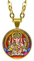 "Lord Ganesh for Wisdom 5/8"" Mini Stainless Steel Gold Pendant Necklace - $21.95"