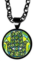 "Wealth Hamsa 5/8"" Mini Stainless Steel Black Pendant Necklace - $21.95"