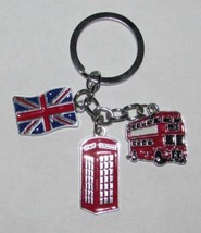 British Flag Bus Phonebooth Metal Alloy Key Chain Ring Keychain New - $12.99
