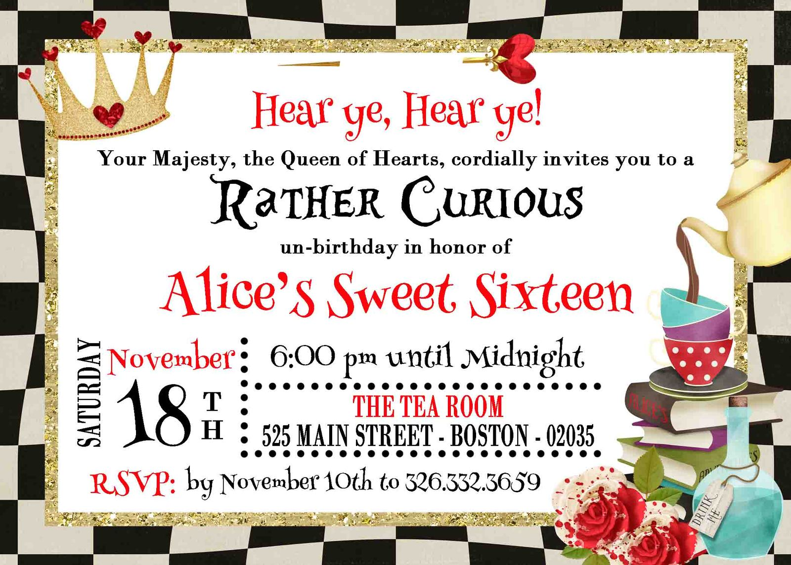 Queen Of Hearts Invitation Birthday