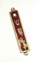 Judaica Red Enamel Gold Tone Mezuzah Case Rose Magen David Decoration 7 cm