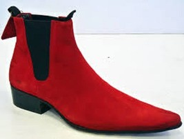 Handmade men red color pointed toe suede ankle boot with cuban heel, Men... - $179.99