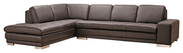 BH Block Italian Leather Sectional Sofa Left Hand Chaise Transitional Style