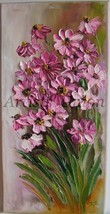 Pink Daisies Impressionism IMPASTO Original Oil Painting Flowers Europe ... - $85.00