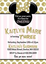 Minnie Mouse Pink Gold Black Invitation Birthday Baby Shower Personalized - £0.74 GBP