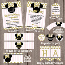 Minnie Mouse Pink Black Gold Party Package Invitation thank you cupcake top - $28.00