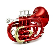 Guarantee Quality Sound Band Approved Red/Silver Pocket Trumpet With Carry Case - $229.99