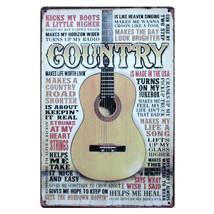 Country Music Guitar Vintage Metal Tin Signs Art Poster Cafe Bar Pub Pai... - $5.98