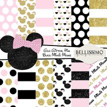 Minnie Mouse Pink Gold Black Inspired Scrapbook Printed Papers 12 Sheets - $6.50