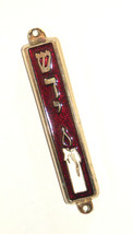 Judaica Red Enamel Gold Tone Mezuzah Case Candle Shadai Decoration 7 cm