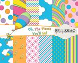 Oh the Places You'll Go Inspired Scrapbook Papers, 12 Sheets, Custom Design