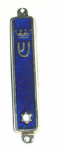 Judaica Blue Enamel Silver Tone Mezuzah Case Magen David Crown Decoration 7 cm