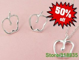 Apple TEACHER christmas gift necklace & earring jewelry set - $14.99