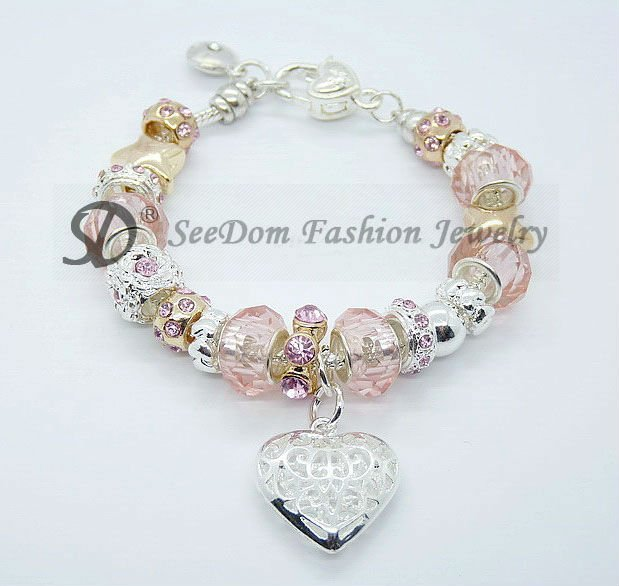 Free shipping pink crystal european zps393e4311