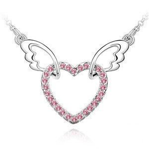Free shipping necklace 925 lady simple angel wings diamond p zps7124d23a