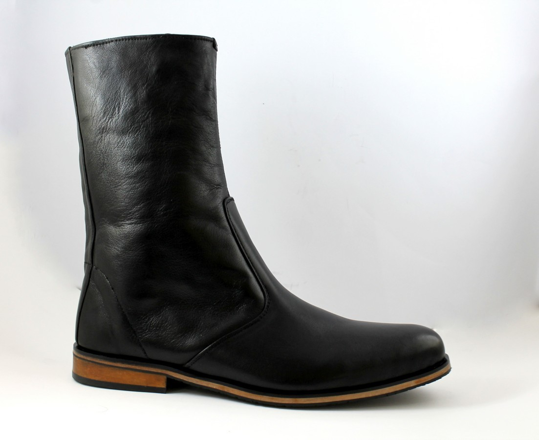 Handmade Men Black Leather Boots Long Boot For Men Men