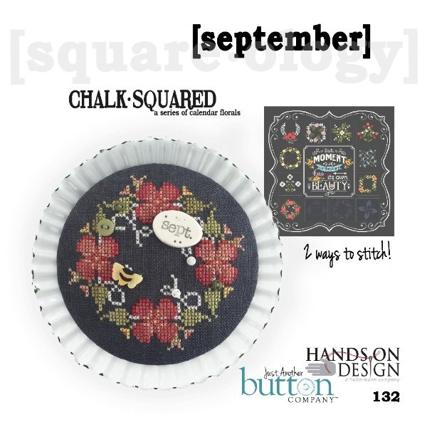 BUTTON PACK September Chalk Squared JABC 10149 cross stitch Just Another Button
