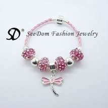 European style BRACELETS Pink Crystal bead DRAGONFLY Free Shipping 029 - $21.99