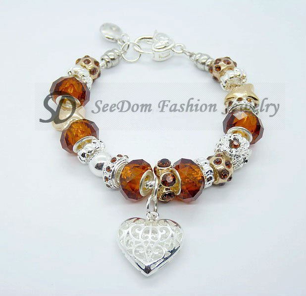 Free shipping brown crystal beads j