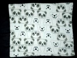 Baby Starters White PANDA BEAR Fleece Blanket Lovey 30x36 Plush Aqua Grey - $25.25