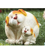 Mommy Dog & Pup White and Brown Spots  Garden Statue New - $19.95