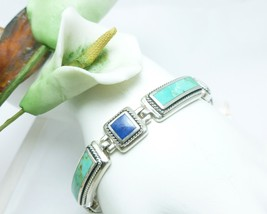 "Sterling Lapis and Turquoise 6-3/4"" Bracelet w/Rope Detail - $89.00"