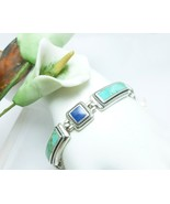 """Sterling Lapis and Turquoise 6-3/4"""" Bracelet w/Rope Detail - $89.00"""