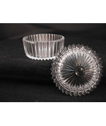 "Cut Crystal Round Covered Trinket Box Ribbed Notched Water White 4"" Dia x 2 1/4 - $20.50"