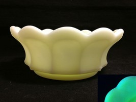 "Fenton Custard Glass Bowl Quilted Grape 12 Panel Satin Yellow 6"" D x 2 1/4 T VFC - $16.95"
