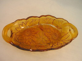 Indiana Glass 605 Amber Pickle  Relish Dish Lili Pons c1930 Large Lilies... - $16.04