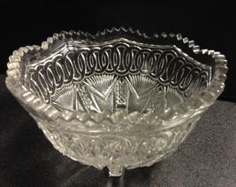 Higbee YOKE and CIRCLE 7x4 EAPG Bowl Chain of Ovals NEW ERA Clear Glass ... - $21.10