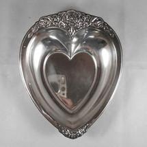 Heart Shaped Silverplate Candy BonBon Dish - Laurel Mist - $17.63