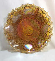 "Indiana DIAMOND POINT Marigold Carnival Glass 10"" Low Bowl Blue Highlights - $12.95"