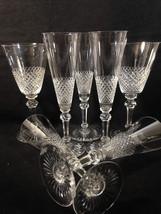 Georgian Cut Crystal Goblets 7 Pcs 5 Flute 2 Water Wine Fine Diamond Gri... - $64.95