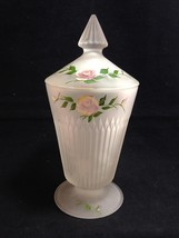 """Jeannette ANNIVERSARY Satin Elegant Glass Hand Paint Covered Candy 10"""" Pedestal - $13.98"""