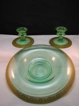 Paden City Cosmos Console Set Rolled Rim Bowl Candleholder Uranium Green... - $50.83