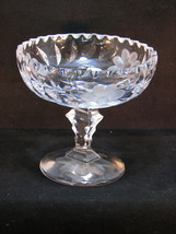 "Jelly Sauce Compote Clear Cut Crystal 5"" D x 4 3/4 T x 1 3/4"" Floral & Leaves - $17.64"