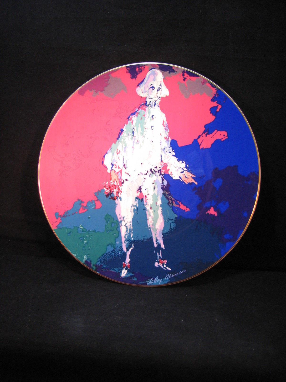 Neiman PIERROT Collector Plate Fuschia Cobalt Teal Clown 8804/15000 Orig Box VFC - $36.95