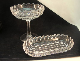 Set of Cube Pedestal Candy Compote Biscuit Cookie Dish Clear American Fostoria - $23.39