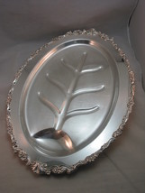 "Silverplate Meat Platter Footed 18""x13"" Floral ... - $22.95"