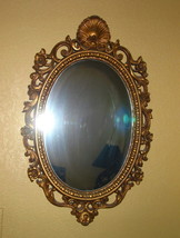 Syroco Mirror 28x18 Oval Gold Ornate Hollywood Regency Style Fine Cond - $53.95