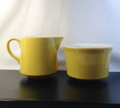 Vintage Butter Yellow & White Creamer Sugar Fiesta Like  Retro Pottery - $14.04