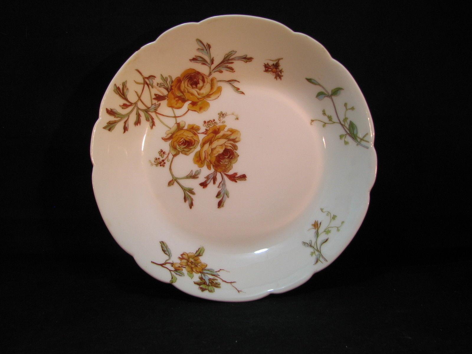 Haviland 3pc Scalloped Soup Bowl H&C 1888-96 Hand Painted Florals Autumn Tones - $35.88