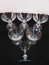 "Duncan Miller Tiffin WILLOW Champagne Goblet 6pc Clear Cut Leaf Stem 6"" ... - $31.75"