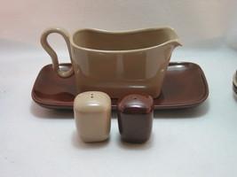 Franciscan Metropolitan Gravy Underplate Salt Pepper Brown and Tan Compl... - $30.95