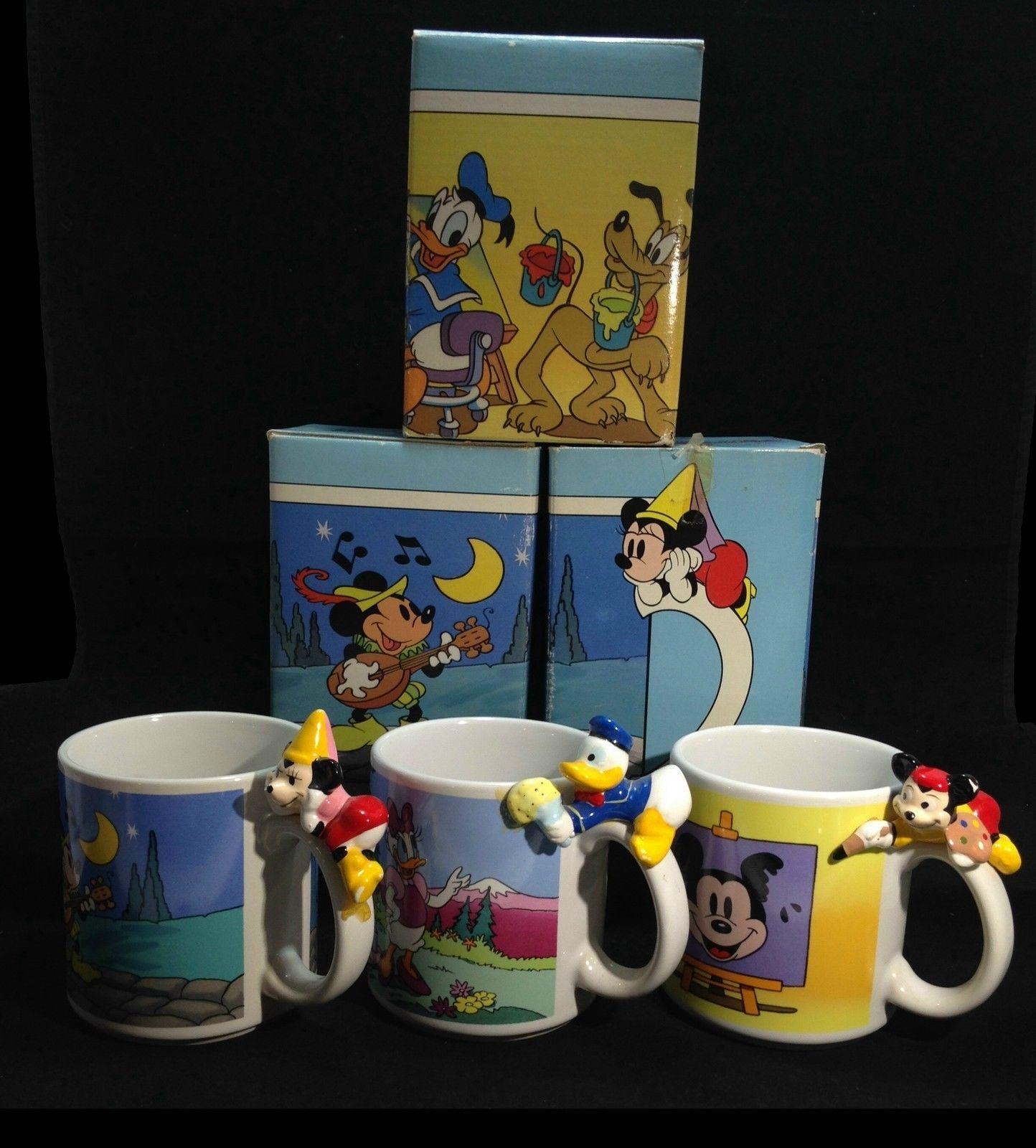 Disney MICKEY, MINNIE, Daffy Figural Cups w/Box Ceramic Set of 3 by Applause - $41.95