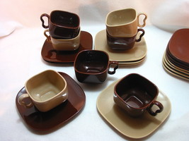 Franciscan Metropolitan 7 Cups and Saucers Brown Oxblood Creme/Coral Cou... - $31.95