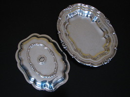 Melon Silverplate Community Ornate Covered Serving Dish - 2 Pieces in 1 ... - $41.95